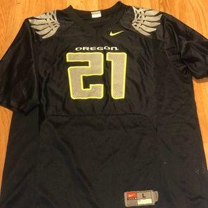 Nike OREGON DUCKS #21 Black Jersey Size L in EUC